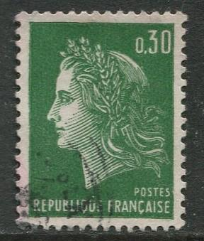 France - Scott 1230 - General  Issue -1969 - Used - Single  30c Stamp