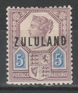 ZULULAND 1888 QV GREAT BRITAIN OVERPRINT 5D