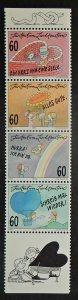 Liechtenstein 1051-54. 1995 Letter Writing se-tenant strip with label, NH