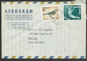 SWEDEN 1972 Formular airletter used to New Zealand - Bird + Gymnastics.....56140