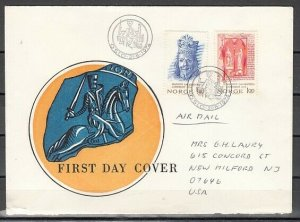 Norway, Scott cat. 635-636. Manuscripts issue. First day cover. *