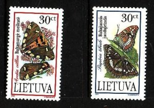Lithuania-Sc#519-20-unused NH set-Insects-Endangered Moths-1995-