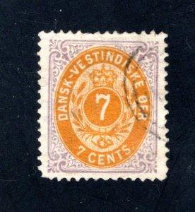Danish West Indies #9,  VF,  Used  CV $95.00 ....1630009