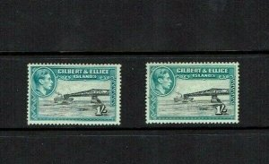 Gilbert & Ellice Is: 1939, 1/-, in both shades, SG 51, 51a, (Faults) Mint.