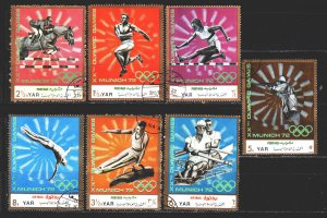 Yemen. 1971. 1463-69. Munich Summer Olympics. USED.