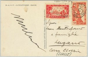 59356 -  SENEGAL - POSTAL HISTORY:  POSTCARD  to SWITZERLAND - 1930'S