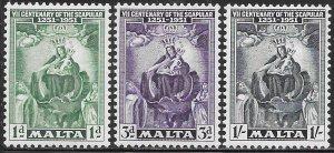 Malta 232-234 Unused/Hinged - Seventh Centenary of the Scapular