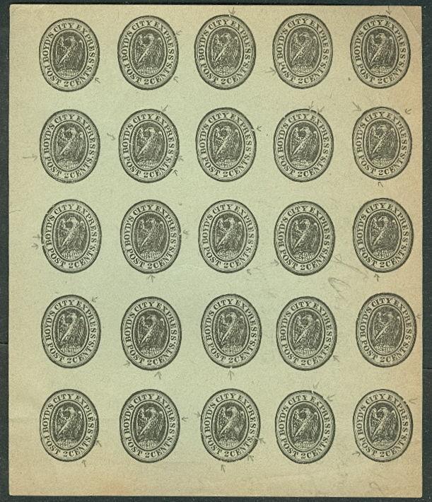 Boyd's 2¢ City Express Local Post 1880's Reprint blk 25
