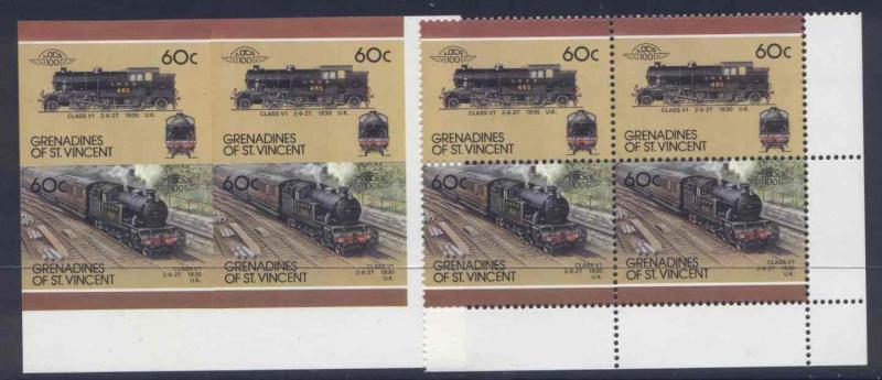 St Vincent Grenadines 321 Blocks (1 per, 1 imperf) MNH Trains