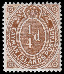 Cayman Islands Scott 31 (1908) Mint H F-VF, CV $6.00 M