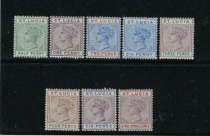 ST. LUCIA SCOTT #27-37 1883-98 VICTORIA DEFINITIVES- DIE B- MINT LIGHT HINGED