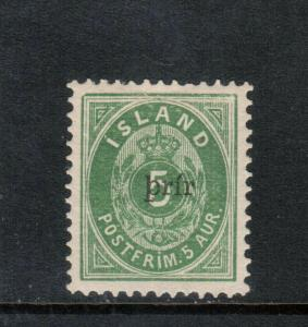 Iceland #33a (Facit #36) Extra Fine Mint Full Original Gum Hinged **With Cert.**