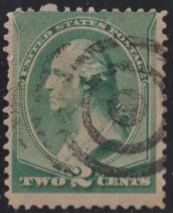 SC#213 2¢ Washington Single (1887) Used