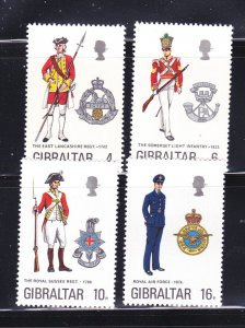 Gibraltar 310-313 Set MNH Military Uniforms