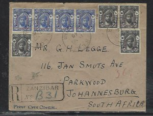 ZANZIBAR  (PP2608B)  1946  FDC COVER  PEACE  SET 4 SETS   REG TO SOUTH AFRICA