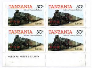 TANZANIA 274 MH BLOCK/4 SCV $2.20 BIN $1.10 TRAINS