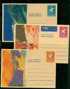 Leichtenstein 1987 trio of Dove illustrated views postal cards 50c Mint cards