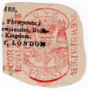 (I.B) QV Revenue : Newspaper Duty 1d (Cornwall Royal Gazette)