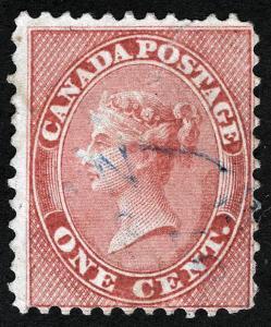{stmpdlr} CANADA Sc 14 Light Cancel p.12 1¢ Rose