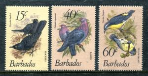 Barbados 570-572 MNH Birds 1982: Carib Grackle Scaly-naped Pigeon Banan, x16405