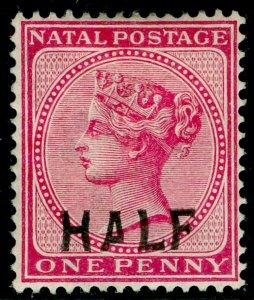 SOUTH AFRICA - Natal SG125b, HALF on 1d rose, M MINT. Cat £40. SHORT 'A'