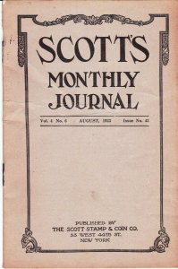 Scott's Monthly Journal August 1923 Stamp Collecting Magazine