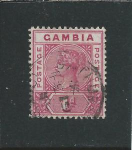 GAMBIA 1898-1902 1d CARMINE REPAIRED 'S' FU SG 38b CAT £425