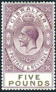 GIBRALTAR-1925-32 £5 Violet & Black.  An unmounted mint example Sg 108