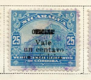 Nicaragua 1918-21 Early Issue Fine Used 1c. Surcharged 323641