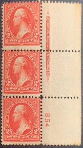 279b Plate number strip of 3.  MNH. OG. Very nice!