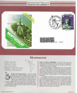 Statue of Liberty Montserrat. #637. 1986  FDC with write up.
