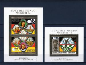 Equatorial Guinea 1974 Germany Winner 2 SS Gold Perf.MNH