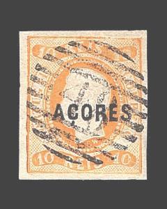 VINTAGE:AZORES-PORTUGAL 1868 USD LH  SCOTT #2 $10000 LOT #1868X300