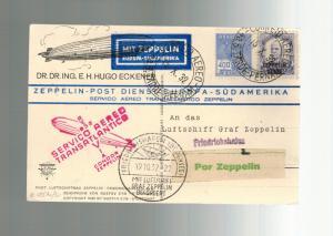 1932 Brazil Graf Zeppelin DR Eckner postcard cover to Zeppelin Works Germany