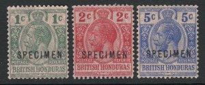 British Honduras, SG 111s-113s, MNG (no gum), Specimen Overprint