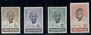 INDIA #203-6, Complete Gandhi set, og, XLH, VF, Scott $402.00