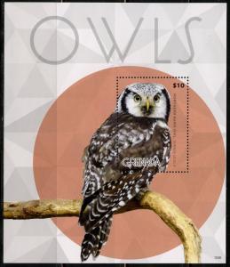 GRENADA  2015 OWLS  SOUVENIR SHEET MINT NH