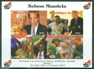 CHAD 2013 MEMORIAL TRIBUTE TO NELSON MANDELA SHEET  III WITH MUHAMMAD ALI IMPRF