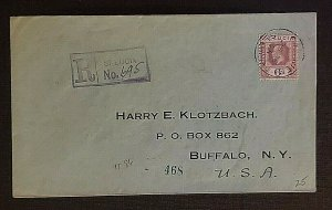 1924 St Lucia Registered Cover to Buffalo NY Via New York City Registered Cover