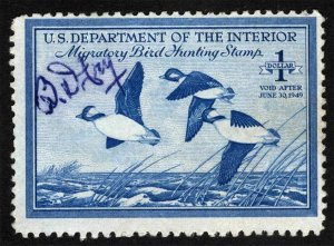 RW15 1948 Federal Duck Stamp (Reece) Premium  Used Signed off image No Faults-EX