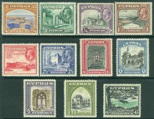 EDW1949SELL : CYPRUS 1934 Scott #125-35 All VF, MNH Only #126 & 134 LH Cat $356