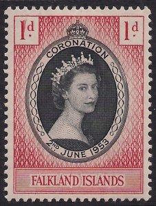 Falkland Islands 1953 QE2 1d Coronation MM SG 186 ( D1288 )