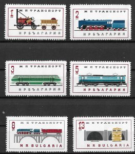 Bulgaria MH Set Of 6 Locomotives 1969