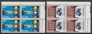 Iceland 660-1 corner blocks of 4 mnh