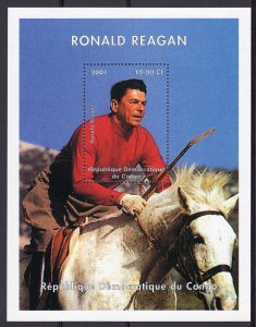 Congo Democratic Republic 2001 President RONALD REAGAN S/S Perforated MNH