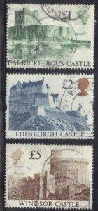 GREAT BRITAIN SCOTT# 1230,32,33 USED  1988 CASTLES SEE SCAN