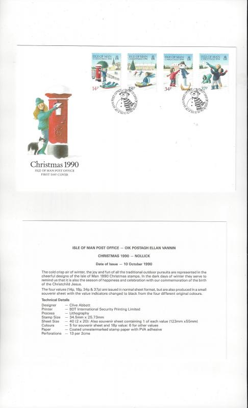 Isle of Man 436-39 1990  Official FDC