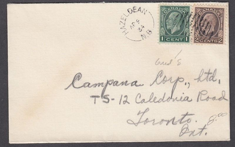 NEW BRUNSWICK SPLIT RING TOWN CANCEL COVER HAZELDEAN