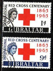 Gibraltar-SC#162-3-used set-Red Cross Centenary-1963-