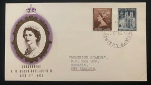 1953 Apia Western Samoa First Day Cover QE2 Queen Elizabeth coronation To NZ